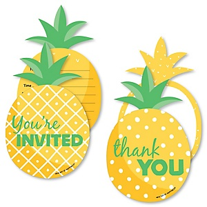 Tropical Pineapple - 20 Shaped Fill-In Invitations and 20 Shaped Thank You Cards Kit - Summer Party Stationery Kit - 40 Pack