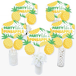 Tropical Pineapple - Summer Party Centerpiece Sticks - Table Toppers - Set of 15