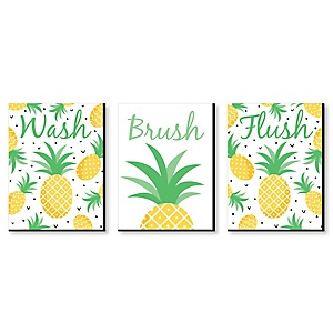 Tropical Pineapple - Kids Bathroom Rules Wall Art - 7.5 x 10 inches - Set of 3 Signs - Wash, Brush, Flush