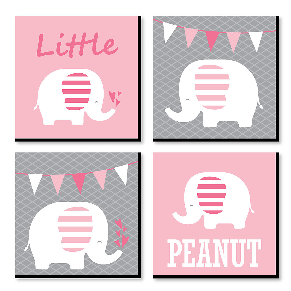 Pink Baby Elephant Nursery Decor 11 X Inches Kids Wall Art Shower Gift Ideas Set Of 4 Prints For S Room