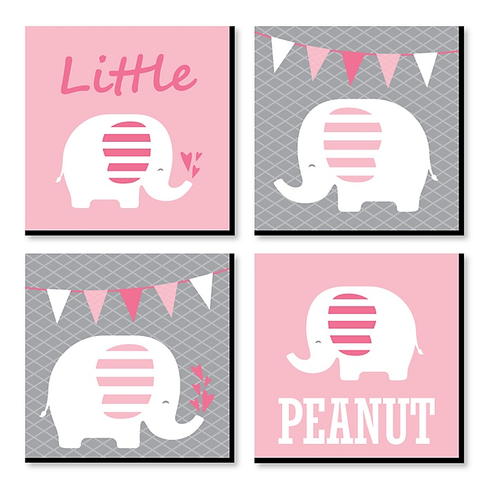Pink Baby Elephant - Nursery Decor - 11 x 11 inches Kids Wall Art - Baby Shower Gift Ideas - Set of 4 Prints for Baby's Room