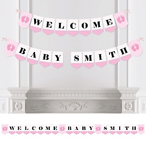 Baby Feet Pink - Personalized Baby Shower Bunting Banner & Decorations