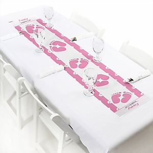 Baby Feet Pink - Personalized Baby Shower Petite Table Runner