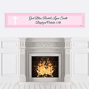 Delicate Pink Cross - Personalized Baptism Banners