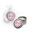 Delicate Pink Cross - Personalized Baptism Candle Tin Favors
