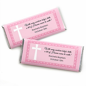 Delicate Pink Cross - Personalized Candy Bar Wrappers Baptism Party Favors - Set of 24
