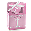 Delicate Pink Cross - Personalized Baptism Favor Boxes