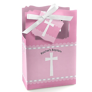 Delicate Pink Cross - Personalized Baptism Favor Boxes - Set of 12