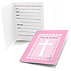 Delicate Pink Cross - Baptism Fill In Invitations - 8 ct