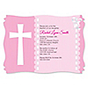 Delicate Pink Cross - Personalized Baptism Invitations