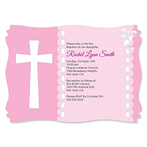 Delicate Pink Cross - Personalized Baptism Invitations - Set of 12