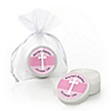 Delicate Pink Cross - Personalized Baptism Lip Balm Favors