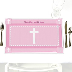Delicate Pink Cross - Party Table Decorations - Personalized Baptism Placemats - Set of 12