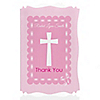 Delicate Pink Cross - Personalized Baptism Thank You Cards