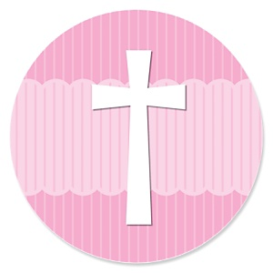 Delicate Pink Cross - Baptism Theme