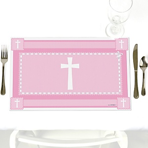 Delicate Pink Cross - Party Table Decorations - Baptism Placemats - Set of 12