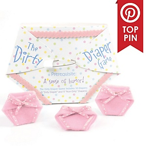 Pink Dirty Diaper Game - Girl Baby Shower Game  - (10 diapers)