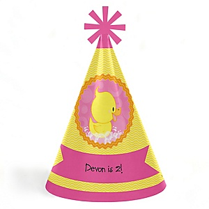 Pink Ducky Duck - Personalized Cone Happy Birthday Party Hats for Kids and Adults - Set of 8 (Standard Size)