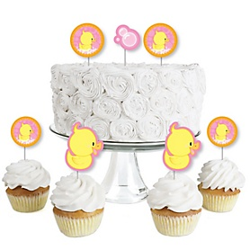 Pink Ducky Duck - Dessert Cupcake Toppers - Baby Shower or Birthday Party Clear Treat Picks - Set of 24
