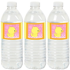 Pink Ducky Duck - Girl Baby Shower or Birthday Party Water Bottle Sticker Labels - Set of 20