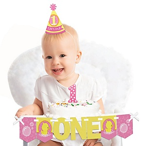 Pink Ducky Duck 1st Birthday - First Birthday Girl Smash Cake Decorating Kit - High Chair Decorations