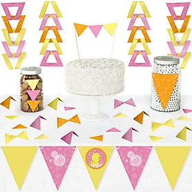 Pink Ducky Duck - DIY Pennant Banner Decorations - Baby Shower or Birthday Party Triangle Kit - 99 Pieces