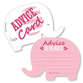 Pink Elephant - Wish Card Girl Baby Shower Activities - Shaped Advice Cards Game - Set of 20