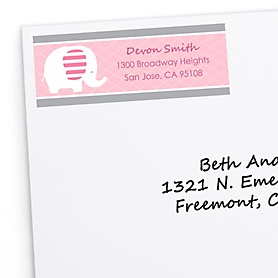 Pink Elephant - Personalized Girl Baby Shower or Birthday Party Return Address Labels - 30 ct