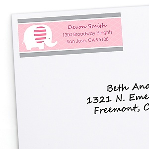 Pink Baby Elephant - Personalized Baby Shower Return Address Labels - 30 ct