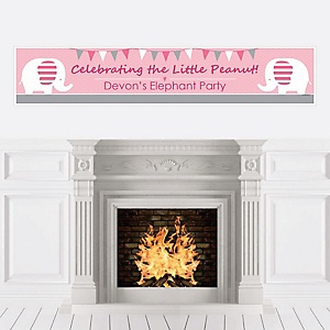 Pink Elephant - Personalized Girl Baby Shower or Birthday Party Banner