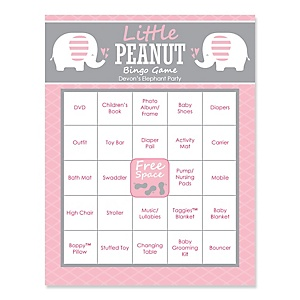 Pink Baby Elephant - Bingo Personalized Baby Shower Games - 16 Count