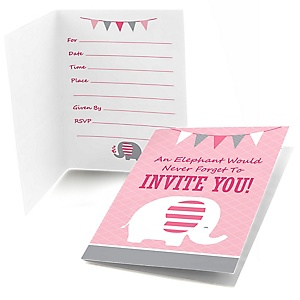 Pink Elephant - Fill In Girl Baby Shower or Birthday Party Invitations - 8 ct