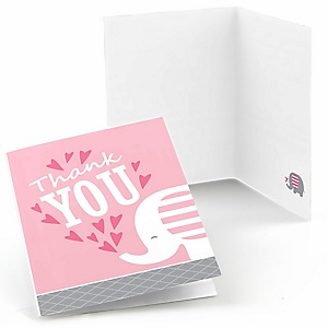 Pink Elephant - Girl Baby Shower or Birthday Party Thank You Cards - 8 ct