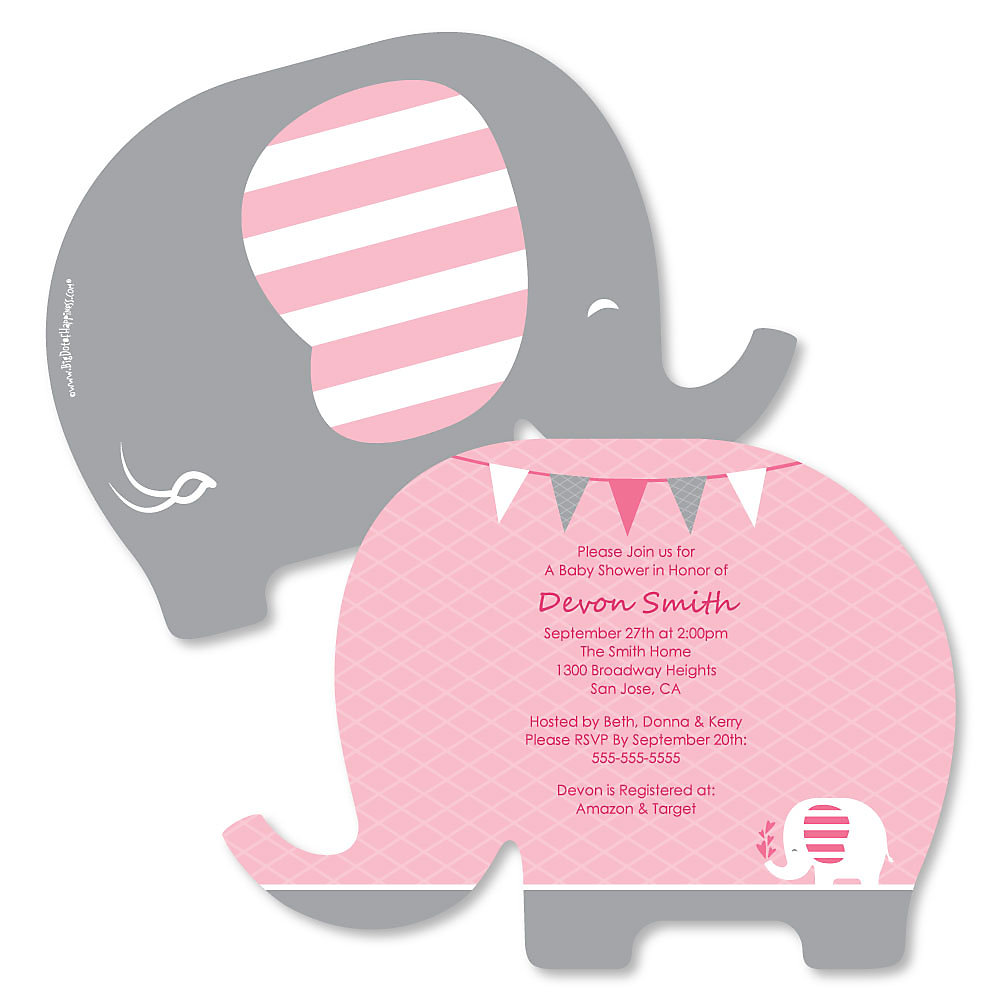 Pink Elephant Shaped Girl Baby Shower Invitations Set Of 12