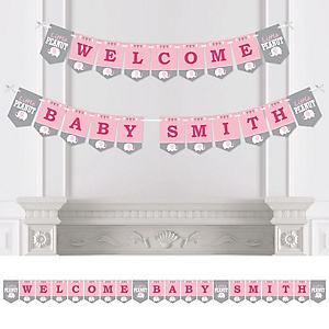 Pink Baby Elephant - Personalized Baby Shower Bunting Banner