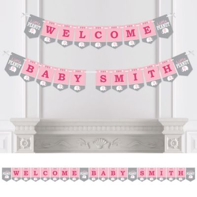 Pink Elephant   Personalized Girl Baby Shower Bunting Banner U0026 Decorations