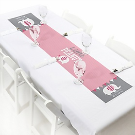 "Pink Elephant - Personalized Petite Girl Baby Shower or Birthday Party Paper Table Runner - 12"" x 60"""
