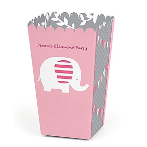 Pink Elephant - Personalized Party Popcorn Favor Treat Boxes