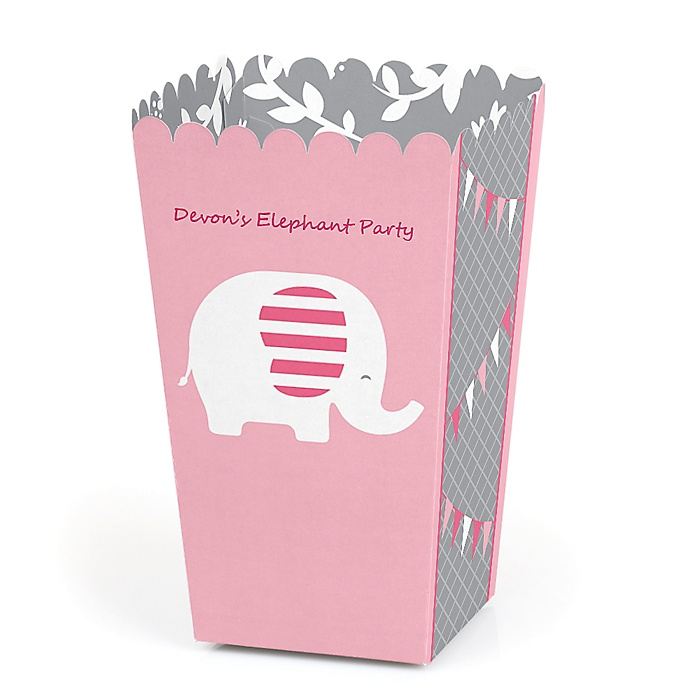 Pink Elephant - Personalized Girl Baby Shower or Birthday Party Popcorn Favor Treat Boxes - Set of 12