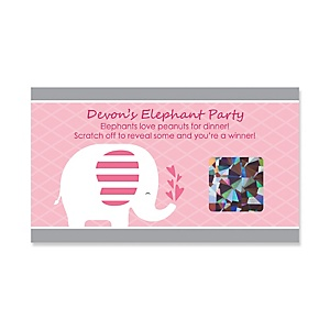 Pink Baby Elephant - Personalized Baby Shower Game Scratch Off Cards - 22 ct