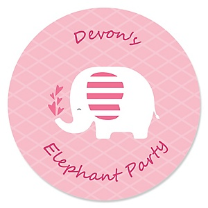 Pink Baby Elephant - Personalized Baby Shower Sticker Labels - 24 ct