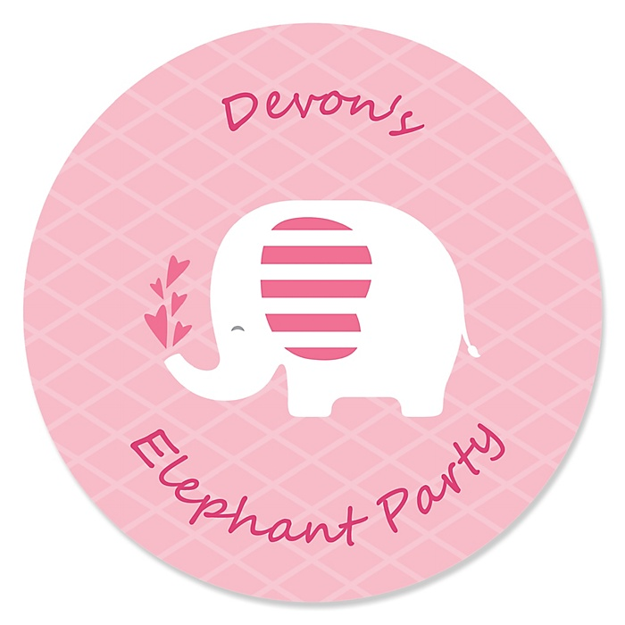 Pink Elephant - Personalized Girl Baby Shower or Birthday Party Sticker Labels - 24 ct