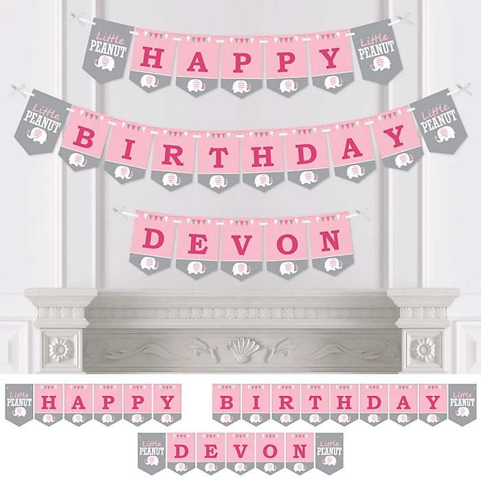 Pink Elephant - Personalized Birthday Party Bunting Banner & Decorations