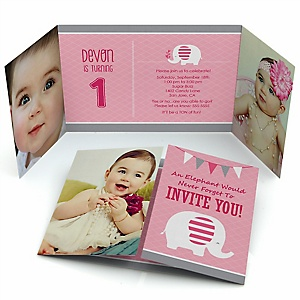 Pink Elephant - Personalized Boy Birthday Party Photo Invitations - Set of 12