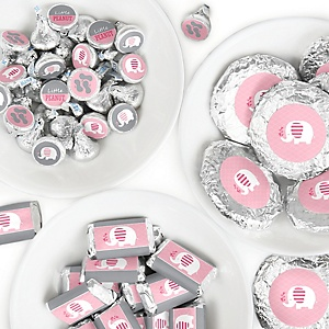 Pink Elephant - Mini Candy Bar Wrappers, Round Candy Stickers and Circle Stickers - Girl Baby Shower or Birthday Party Candy Sticker Favor Kit - 304 Pieces
