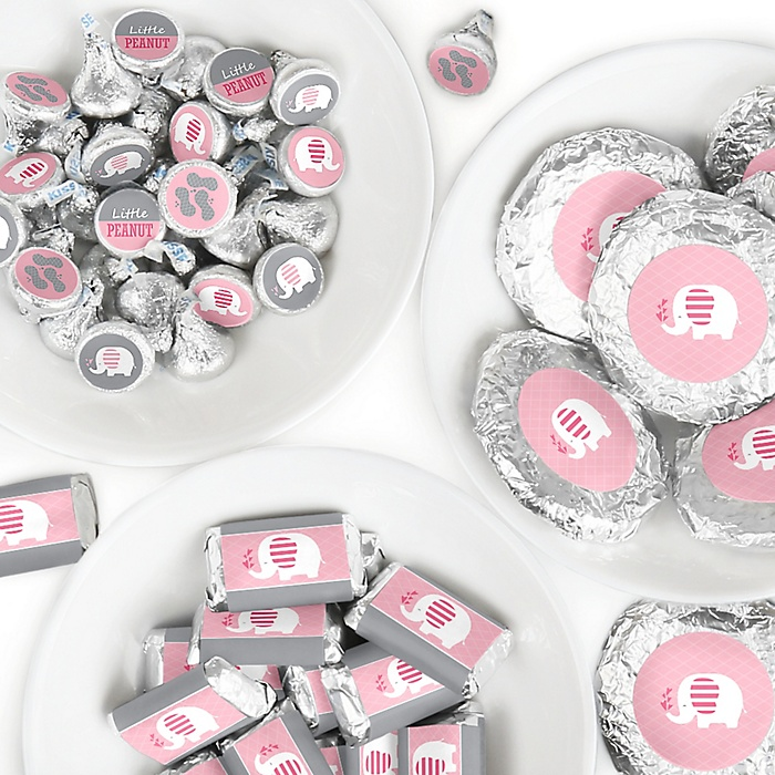 Pink Elephant - Mini Candy Bar Wrappers, Round Candy Stickers and Circle Stickers - Girl Baby Shower or Birthday Party Candy Favor Sticker Kit - 304 Pieces
