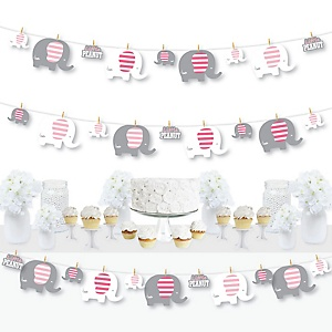 Pink Elephant - Girl Baby Shower or Birthday Party DIY Decorations - Clothespin Garland Banner - 44 Pieces