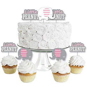 Pink Elephant - Dessert Cupcake Toppers - Boy Baby Shower or Birthday Party Clear Treat Picks - Set of 24