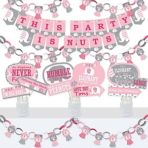 Pink Elephant - Banner and Photo Booth Decorations - Girl Baby Shower or Birthday Party Supplies Kit - Doterrific Bundle