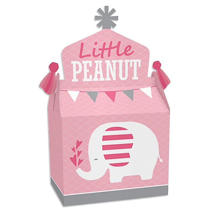 Pink Elephant - Treat Box Party Favors - Girl Baby Shower or Birthday Party Goodie Gable Boxes - Set of 12